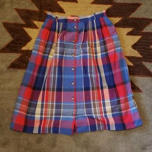 Bright colorful plaid button front midi skirt
